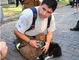 Fireman Oscar Cerda saves cat from fire
