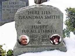 Human and Dog Headstone