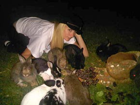 Paris Hilton with bunnies