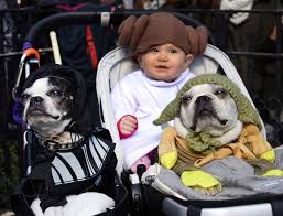 Stroller with Baby and Dogs in Costumes
