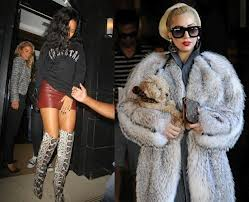 Rihanna in snakeskin boots and Lady GaGa in fur.668