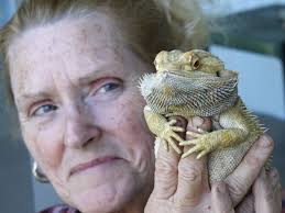 Sherrie Doleful with Bearded Dragon