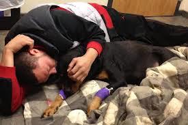 Charlie Batch cuddles a dog