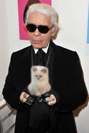 Karl Lagerfeld and Cat