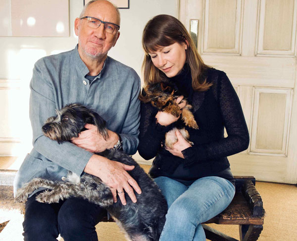 Pete Townshend and Rachel Fuller and furry family